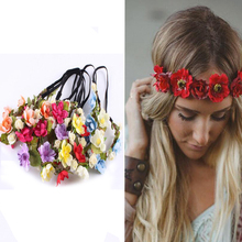 New Hot Fashion Women Bride Flower Headband Bohemian Style Rose Flower Crown Hairband Ladies Elastic Beach Hair Accessories