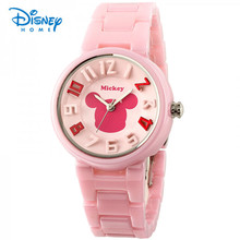 100% Genuine Disney fashion casual quartz ceramic female watch Minnie elegant student girls watches dress wristwatches(China)