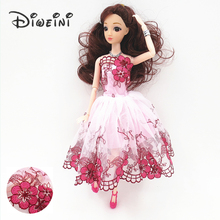 31cm 6 styles Barbie dolls for girls 1:6 dolls accessories baby doll toy kids clothes Long hair lace dress Birthday gift girl