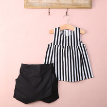 2017 New Summer wear Girls Casual TOPS + Short Clothing Set Suit Girls Clothe Fashion wear(China)