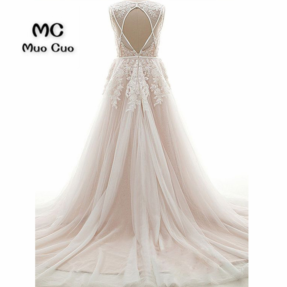 A-Line V-Neck Court Train Pearl Pink Tulle Wedding Dress with Appliques Sequins