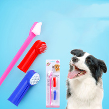 Pet Toothbrush Double Head Toothbrush + Finger Toothbrush Suit Pet Dog Cat Toothbrush Color Random(China)