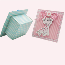Blue Deer Candy Bag Favors Cute Baby Shower Baptism Pink Boy Girl Event Party Supplies Paper Accessories Guest Flower Favors Box
