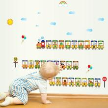 1pc Train English Letter Wall sticker Cartoon Decorate Kids Room Removable Wallpaper Stickers Home Decoration A35(China)
