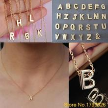 Women's Metal Alloy DIY Letter Name Initial Link Chain Charm Korean style Necklace 4T6L