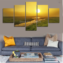 5 Pcs/Set Artist Canvas Still Life Painting Sun And Ocean Wall Sticker Canvas Prints Wall Pictures For Living Room Picture(China)