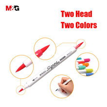 M&G two head watercolor brush marker pens for drawing colored felts art marker liner pen school art supplies stationery office(China)
