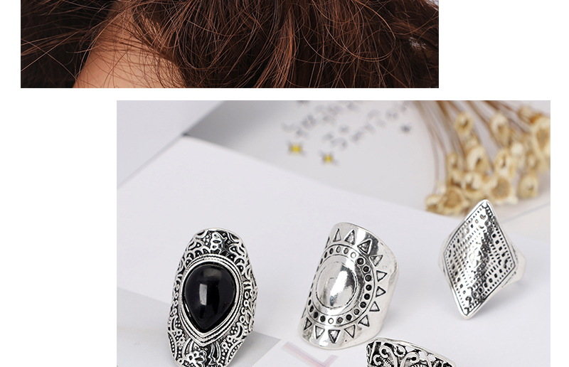 AYAYOO 4pcsPack Vintage Black Crystal Rings Lucky Silver Color Midi Knuckle Ring Set of Rings for Women Jewelry Party Gift (2)
