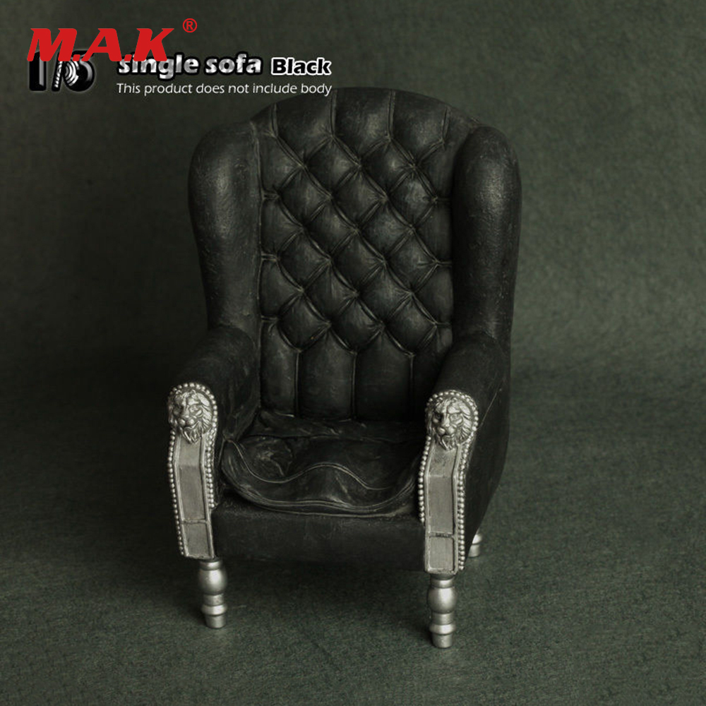 1/6 Scale  Retro Furniture Black PVC Single Sofa Armchair Couch Model Toys Collection Gift Fit 12 Action Figure Accessory<br>