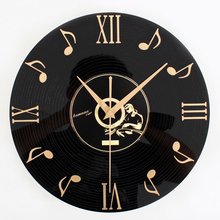 Fashion Creative Retro 3D Vinyl Records wall clock Quartz power Wall clock With Musical note Reminiscence  art Wall Clock