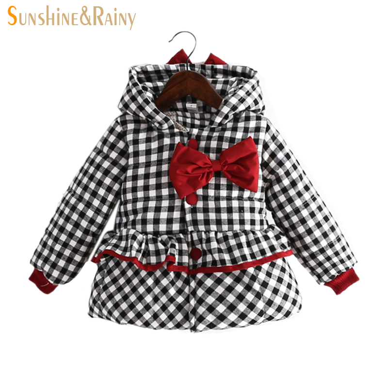 2017 Princess Girls Winter Coats For Kids Cotton Filling Thicken Jackets For Girls Bow Hooded Baby Plaid Coats Kid Warm JacketsОдежда и ак�е��уары<br><br><br>Aliexpress