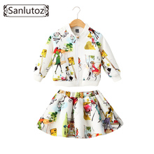 Sanlutoz Children Clothing Girls Set Kids Clothes Brand Girls Clothing Winter Sport Suits Toddler 2 PCS ( Jacket + Skirt )(China)