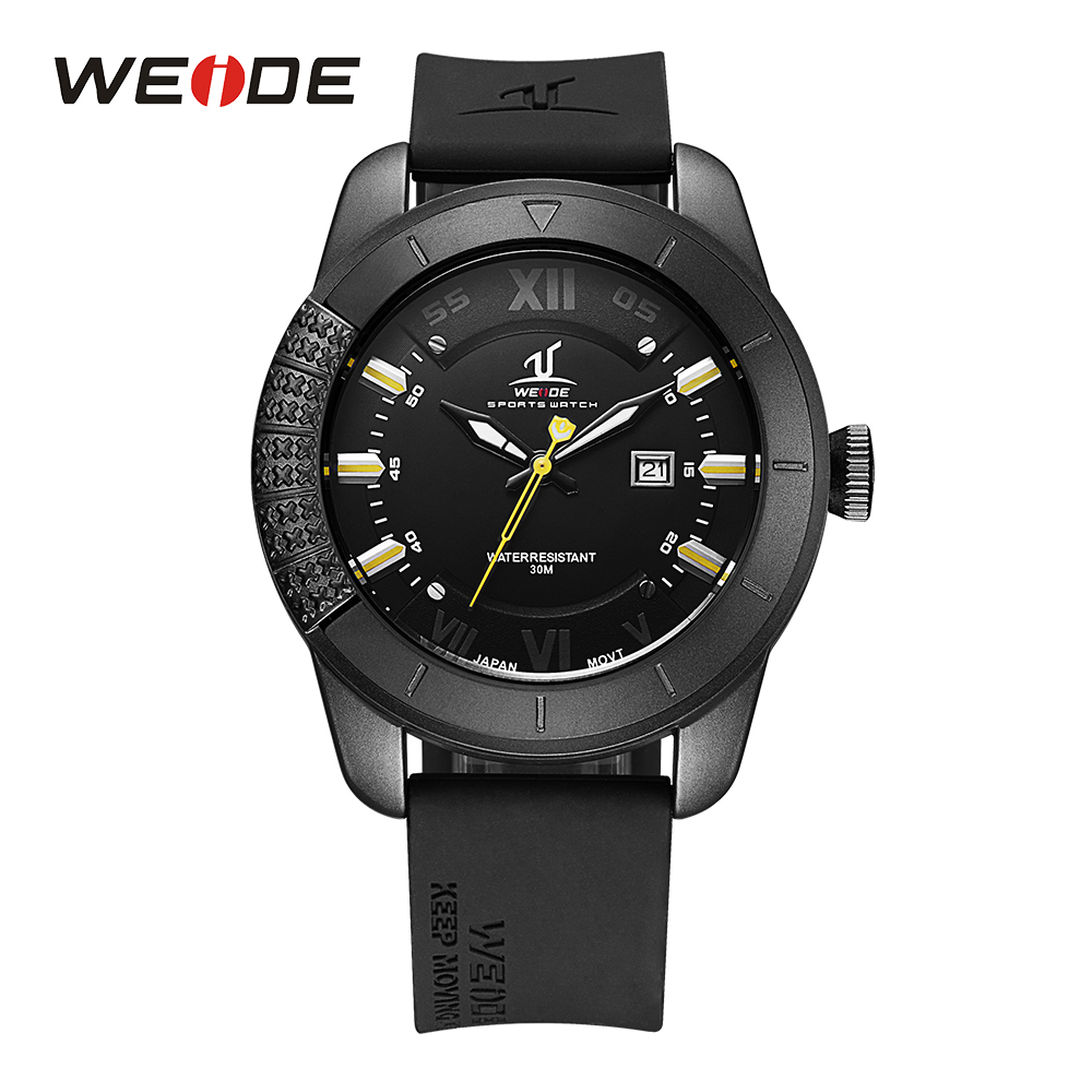 WEIDE Mens Analog Display Japan Quartz Movement Calendar Watches Auto Date Black Rubber Strap Band Buckle Man Sport Wristwatch<br>