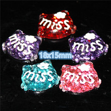 30pcs 15x17mm bling bling Hello Kitty resin flatback cabochon DIY jewelry/phone decoration hair bow center(China)
