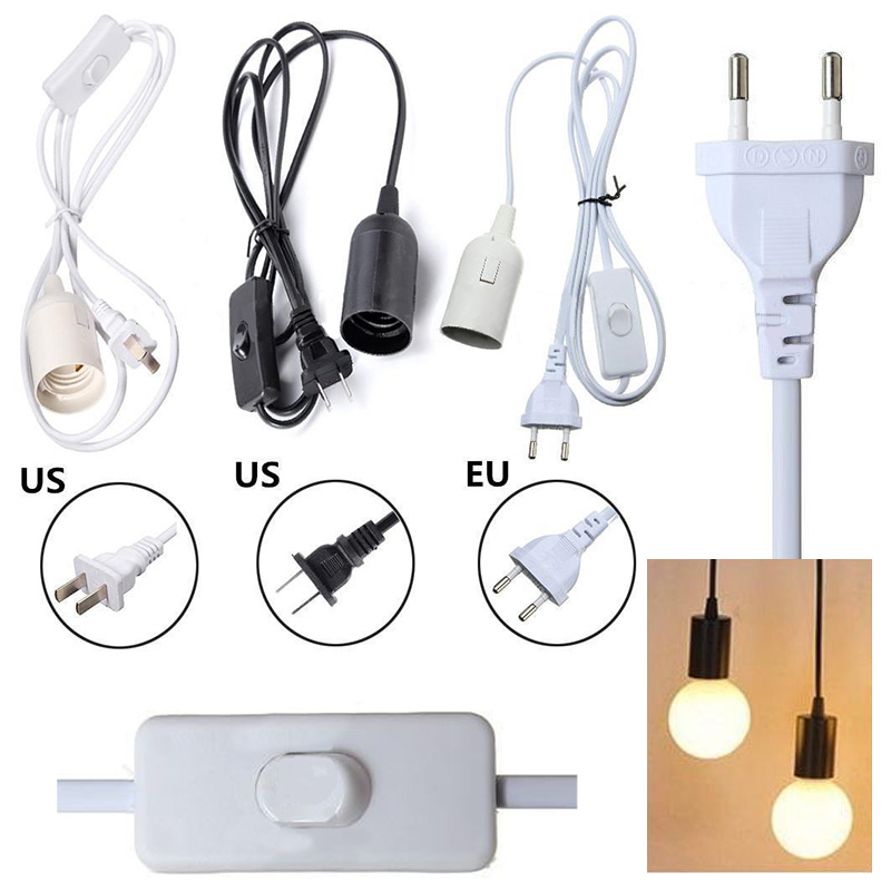 Lamp Base E27 EU/US Hanging Pendant LED Light Fixture Lamp Bulb Socket Cord Adapter With On/Off Switch Lamp Bases Holder