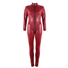 Buy Plus Size S-5XL Faux Leather Bondage Catsuit Soft PU Latex Red Black Bodysuit Open Crotch Jumpsuit Latex Zipper Lingerie