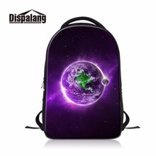 dispalang novel computer dailybags for college students cheap name brand backpack for men print earth pattern on laptop daypack(China)