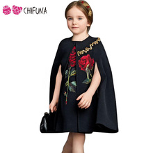 Latest Summer Girls Dress Kids Italy style Big Rose Flower Pattern Vest Dress Without Cloak Baby Girls Clothing Dresses