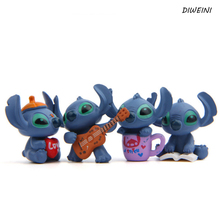 4pcs/lot 3-4CM New Cool Lilo and Stitch Toys Cartoon Movie Stitch Model Mini PVC Action Figures Toy for Children Creative Gifts