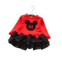 Winter Spring New Fashion Children Basic Dresses Cute Cartoon Mickey Design Red Pink Girls Tutu Dress Long Sleeve Kids Clothes(China)