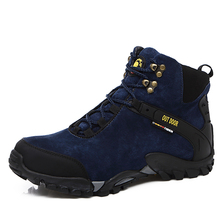 Autumn/Winter Leather Outdoor Shoes Men Hiking Shoes Mountain Boots Black/Blue High Top Sport Sneakers Climbing Shoes Men(China)