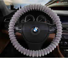 "New Winter Car Suv Coral Velvet Steering Wheel Cover Lady Girl Orange Brown Beige Gray 38cm 14.9"" Anti Slip"
