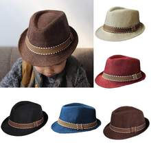 High Quality New Fashion Steampunk Kids Boy Girl Unisex Fedora Hat Contrast Trim Cool Jazz Hat Trilby Cap(China)