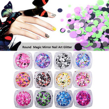 1 box Nail Art Glitter Round Shapes Confetti Sequins Acrylic Tips UV Gel Nail Art Metal Wheel(China)