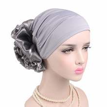 New Woman Big Flower Turban Elastic Cloth Head Cap Hat Chemo Beanie Ladies Hair Accessories Muslim Scarf Cap for Hair Loss(China)
