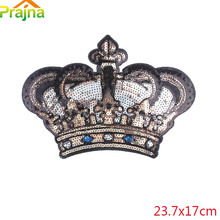 Large Crown Patch Badge Cartoon Sequin Patches Iron On Sewing Patches For Clothes Stickers Shirt Back Patch Fabric Accessories(China)