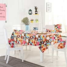 Cartoon Pattern Tablecloth for Dining Room 100% Cotton Tablecloth for Rectangle Table Suitable for All Seasons