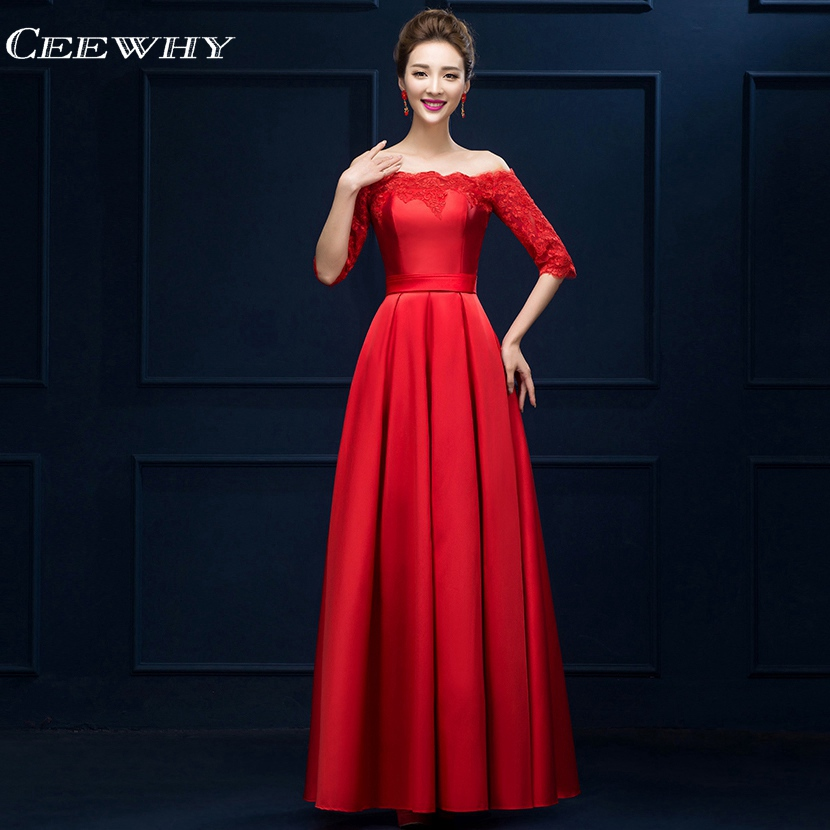 CEEWHY Luxury Embroidery Prom Dresses Half Sleeve Evening Dress Boat Neck Elegant Evening Gowns 2018 Vestido de Festa Longo
