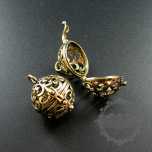 20mm vintage style bronze filigree flower wish prayer box balllocket pendant charm DIY supplies findings 1810432(China)