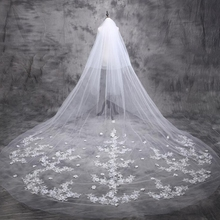 5 m Cathedral Wedding Veil 2017 Long Bride Lace Bridal Veil 5 Meters Wedding Accessories(China)