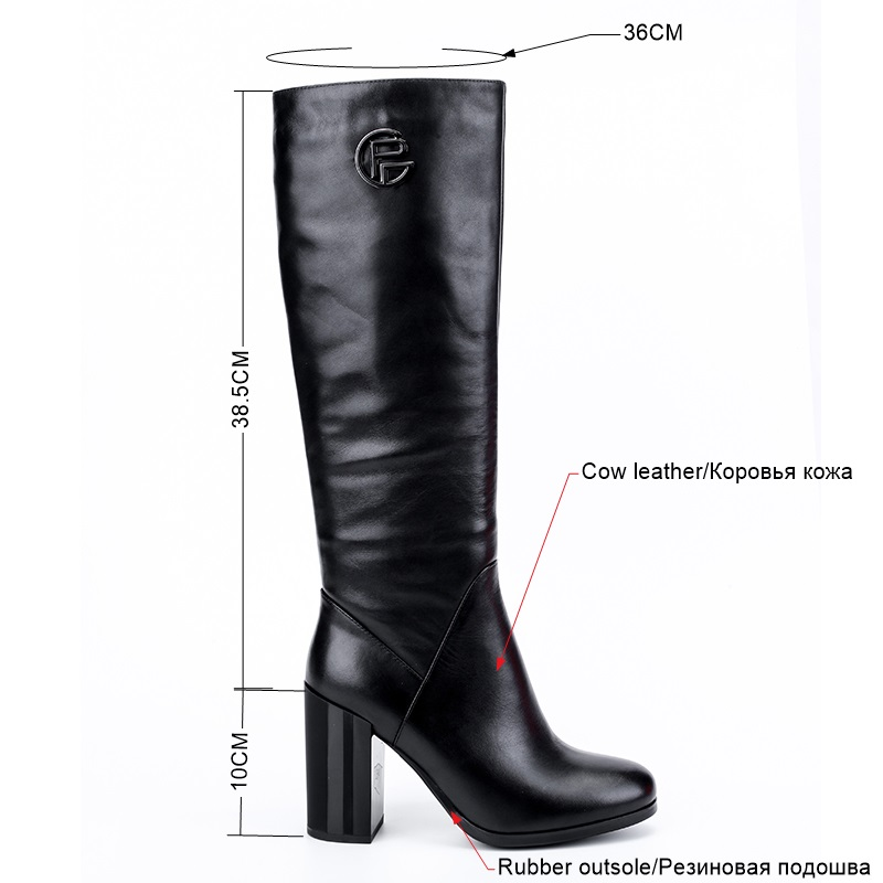 BELISS natural wool boots knee high women high quality ladies winter boots heels high genuine leather (3)