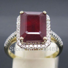 2.0ct Solid 14k Yellow Gold natural sparkly blood ruby . wedding ring  Free shipping