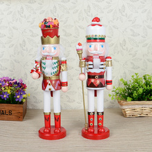 Christmas 38cm Nutcracker Character Mediterranean Style Pure Ornaments Drawing Walnuts(China)