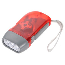 Promotion! RED 3 LED Hand Press No Battery Wind up Crank Camping Outdoor Flashlight Light Torch