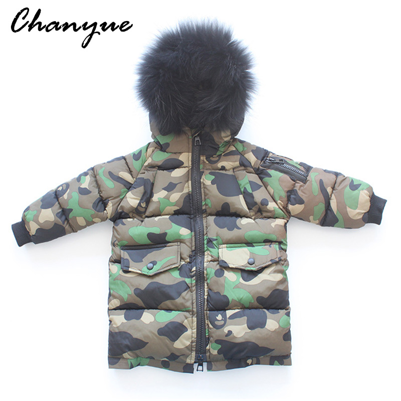 Chanyue Childrens Winter Jackets Coat Boys Jacket for Girls Big Hair Collar Coat Thick Camouflage Boy Cotton-padded Outerwear <br>