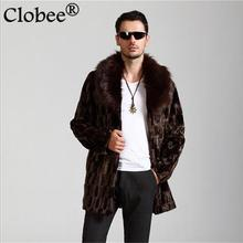2017 New winter men fox fur coats Casual Turn-down collar mink fur jacket Brown Oversized loose thicken fur Jacket Coats WR769
