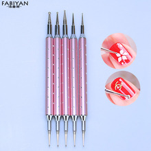 5 Stainless Steel Dot Dotting Pen Nail Art Gel Metal Point Painting Drawing Brush Manicure Rhinestone Decoration Tool 2 way Set(China)