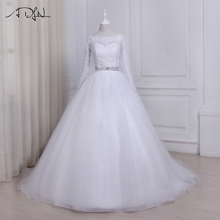 Buy ADLN Long Sleeves Lace Wedding Dress 2017 Boat Neck Sweep Train Tulle Ball Gown Bride Dresses Vestido de noiva Custom Made for $167.75 in AliExpress store