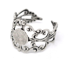 Free shipping 20pcs Silver Tone Adjustable Filigree Cabochon Ring Base Blank Settings US8 Jewelry Findings(China)