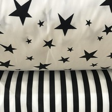 100% cotton twill cloth white BLACK stars stripe fabric for DIY kidscrib bedding cushions handwork quilting tissue textile tela(China)