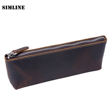 Vintage Handmade 100% Genuine Crazy Horse Leather Cowhide Men Women Long Zipper Wallet Wallets Coin Purse Pen Pencil Bag Case