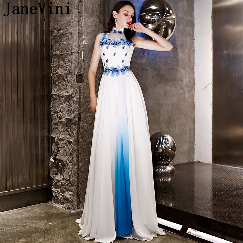 JaneVini Vintage Chinese Style Long White Prom Dresses High Neck Embroidery Appliques Pattern Beaded Chiffom Formal Party Gowns