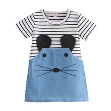 New 2017 Striped Patchwork Character Girl Dresses Long Sleeve Cute Mouse Children Clothing Kids Girls Dress Denim Clothes