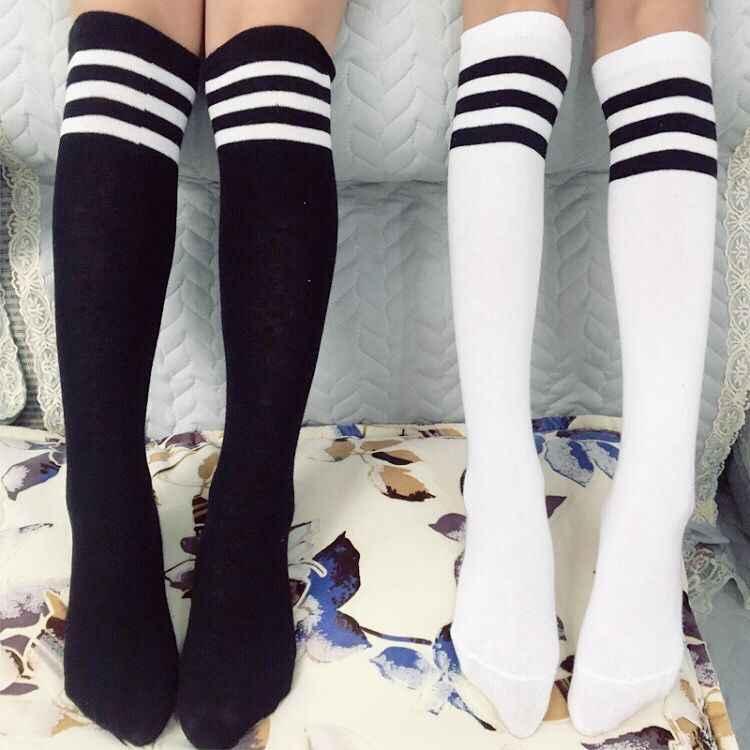 16fb11bc09f 1 Pair Kids knee socks girls boys Football Stripes Cotton Sports School  Style White Socks Skate