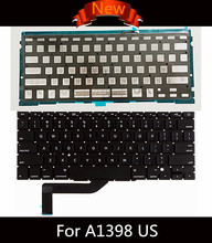 "Brand New US English QWERTY Standard Keyboard with Backlight for Macbook Pro Retina 15"" A1398 2013 2014 2015 Year(China)"