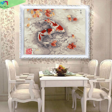 Frameless 40X50cm classic oil paintings decoration picture Diy Digital painting by numbers wall decor canvas painting fish WQ19(China)